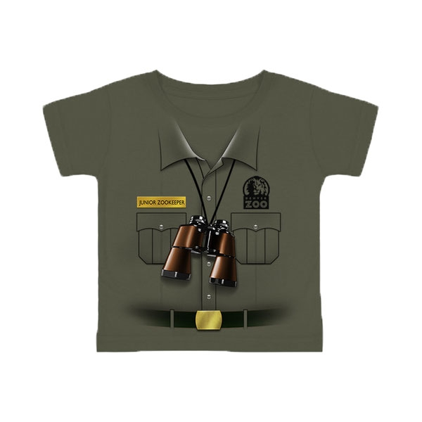 Toddler Short Sleeve Tee Junior Zookeeper Vest Olive Green