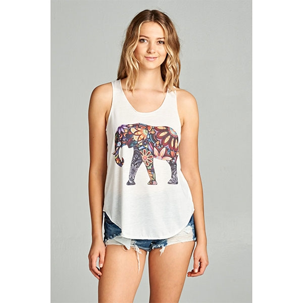 Ladies Tank Top Colorful Elephant White