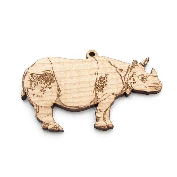 Wooden Rhino Ornament