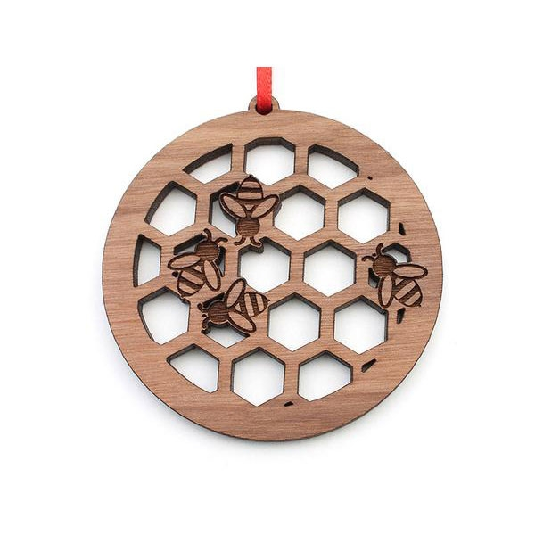 Wooden Honey Bee Honeycomb Circle Ornament