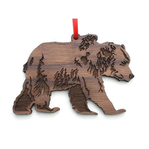 Wooden Grizzly Bear Ornament