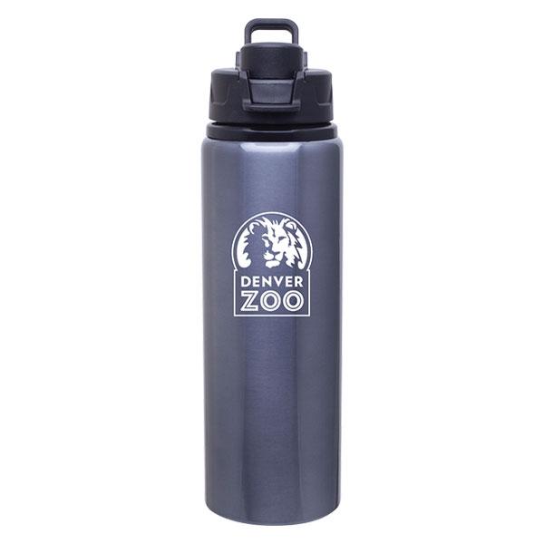 Logo Snap Lid Bottle Grey