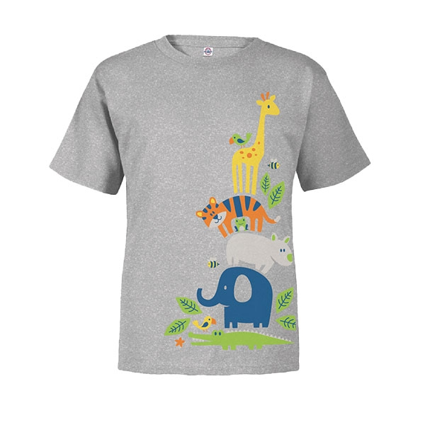 Toddler Short Sleeve Tee Stacking Zoo Animals