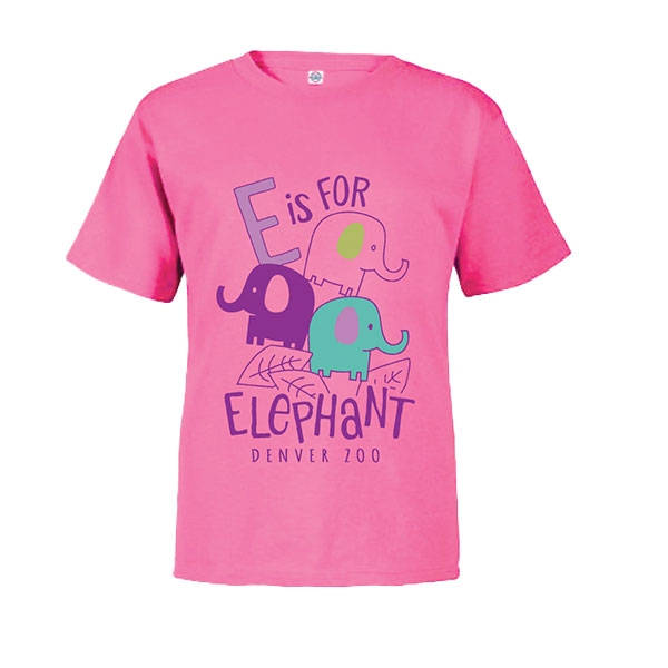 Toddler Short Sleeve Tee E is for Elephant