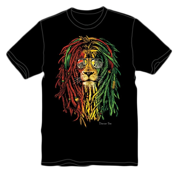 ADULT SHORT SLEEVE TEE RASTA LION BLACK