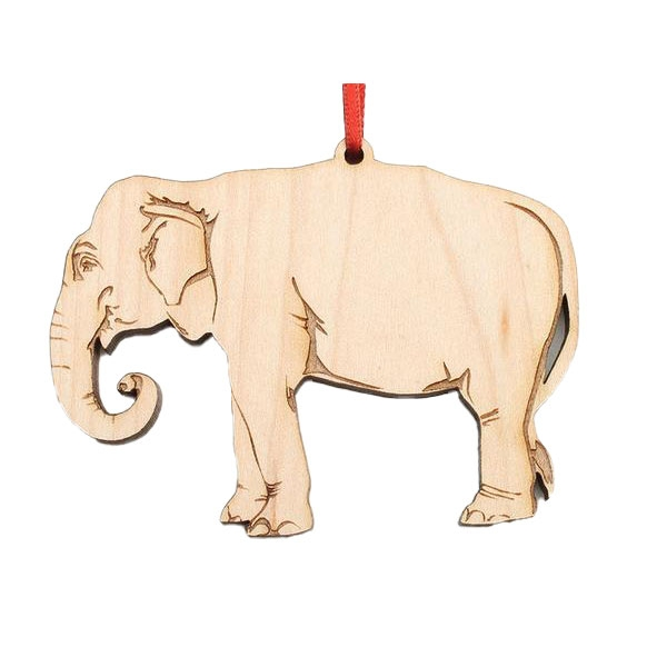 Wooden Asian Elephant Ornament