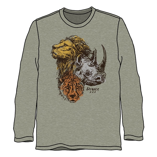 Adult Long Sleeve Tee Wild Trio