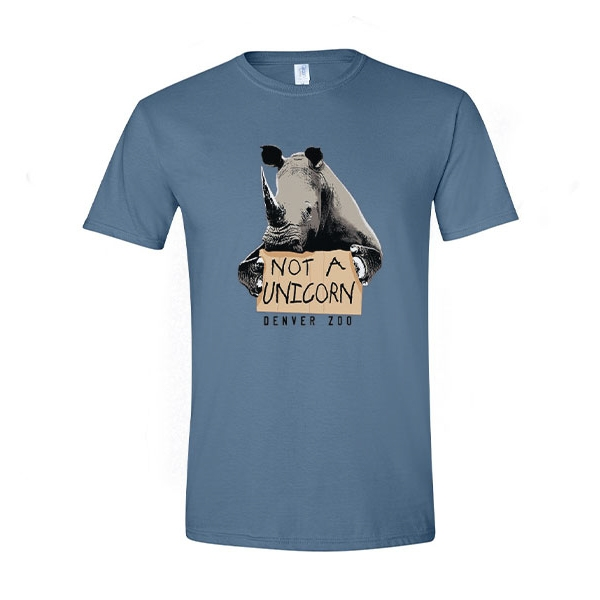 Adult Short Sleeve Tee Misunderstood Rhino Steel Blue