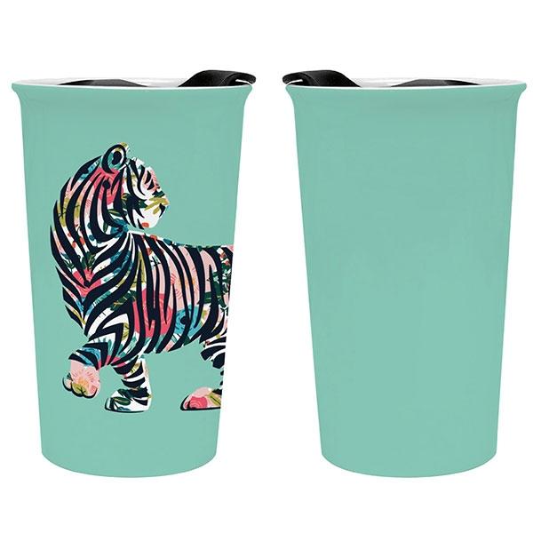 Ceramic Floral Tiger Tumbler