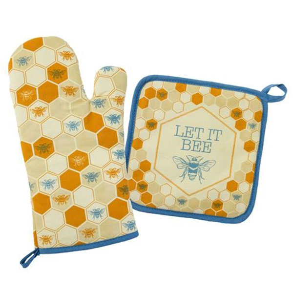 Let It Bee Oven Mitt and Pot Holder Set