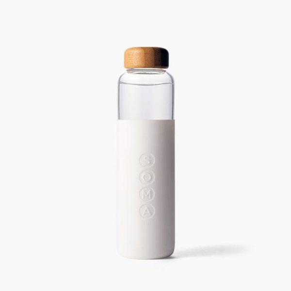 SOMA WHITE GLASS WATER  BOTTLE