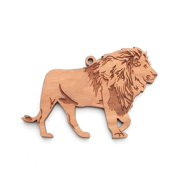 LION WOOD ORNAMENT