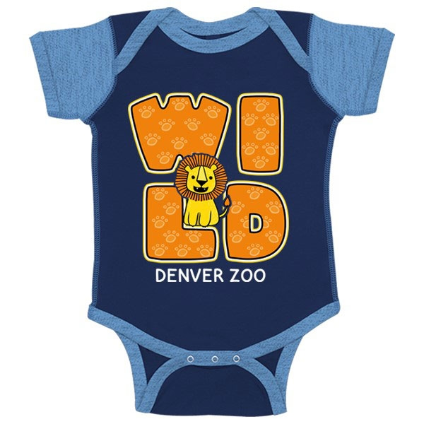 INFANT ONESIE WILD LION BLUE