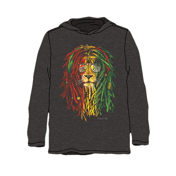 ADULT LONG SLEEVE HOODED TEE RASTA LION BLACK