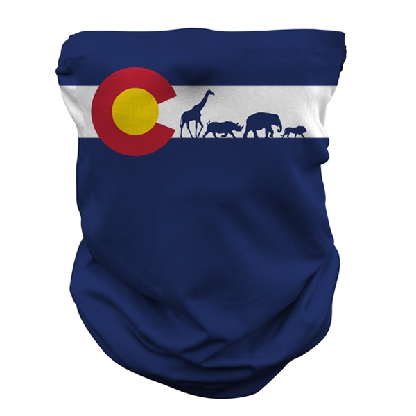 ADULT NECK GAITER COLORADO FLAG WITH ANIMALS