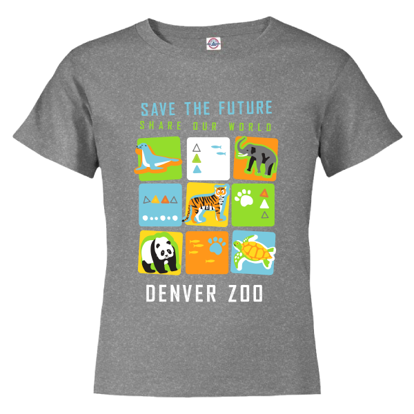 Youth Short Sleeve Tee Save the Future Cubes Heather Charcoal